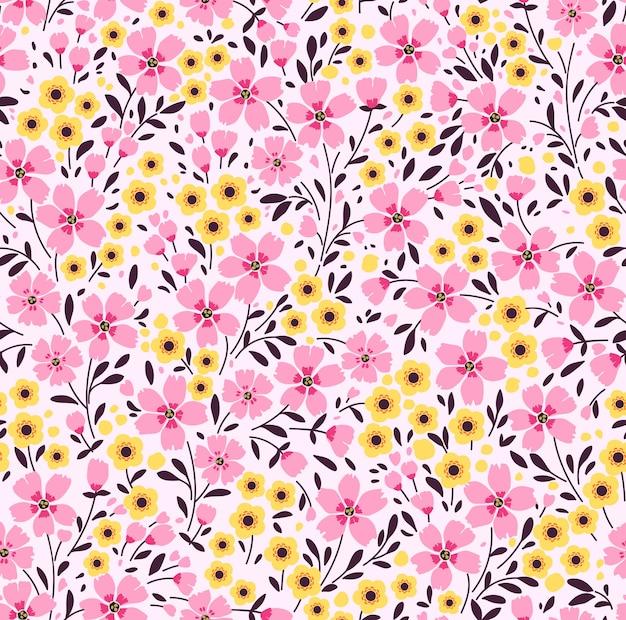 Fundo floral vintage. padrão sem emenda com pequenas flores cor de rosa em um fundo branco.