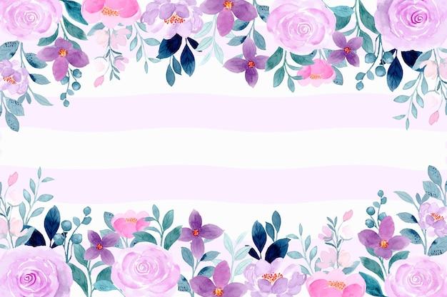 Fundo floral violeta roxo com aquarela