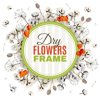 Fundo florístico com quadro de flores secas