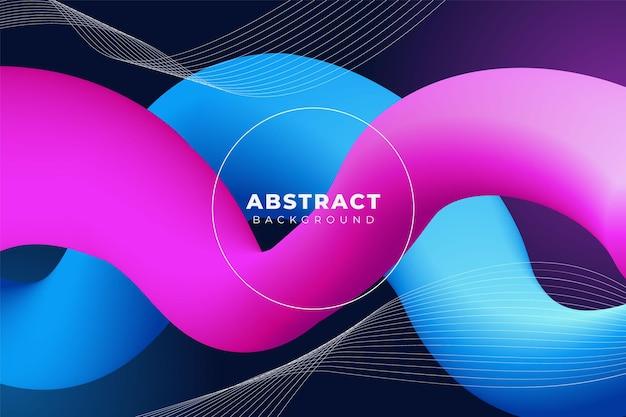 Fundo fluido abstrato, dinâmico, forma ondulada, azul rosa