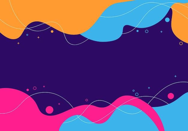 Fundo fluido da onda abstrata com elementos de memphis. ilustração vetorial.