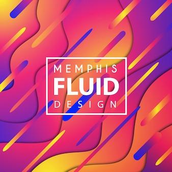 Fundo fluido de vetor colorido Memphis