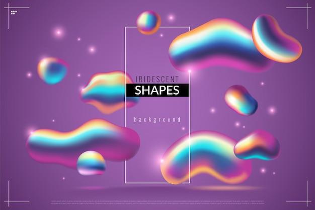 Fundo fluido. gotas metálicas abstratas líquidas com gradiente iridescente em cores roxas, forma com arco-íris textura de formas dinâmicas em 3d moderno futurista dos anos 80 poster brilhante, papel de parede ou banner
