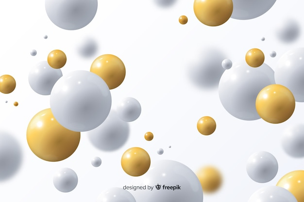 Fundo fluindo realista com bolas brilhantes