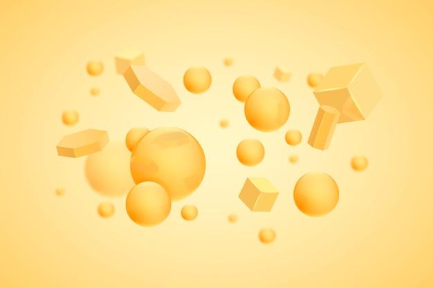 Fundo flutuante de formas 3d amarelas realistas