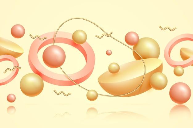 Fundo flutuante de formas 3d douradas e rosa