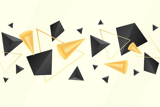 Fundo flutuante de formas 3d pretas e douradas
