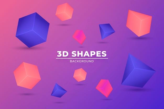 Fundo flutuante de formas 3d realistas