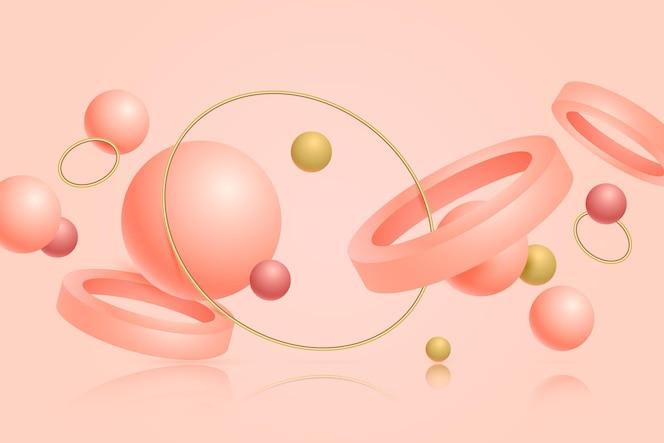 fundo flutuante de formas 3d rosa e dourado
