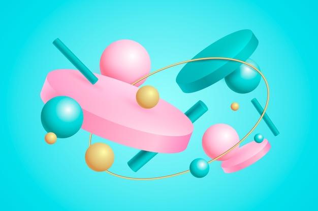 Fundo flutuante de formas coloridas em 3d