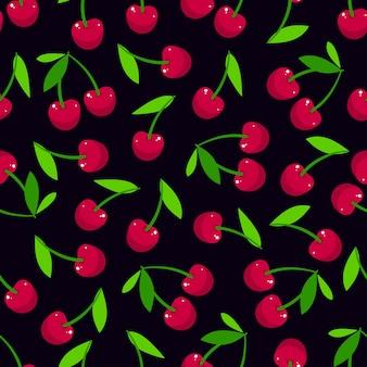 Fundo fofo sem costura de cerejas maduras