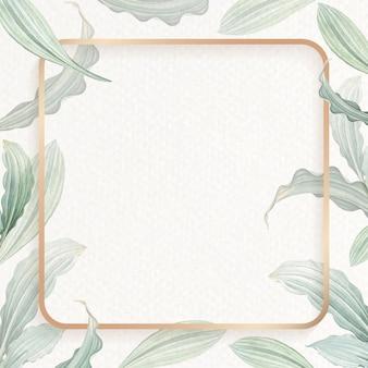 Fundo frondoso quadrado em branco