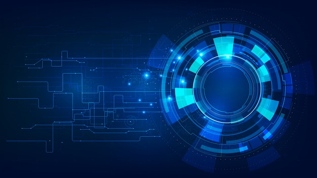 Fundo futurista abstrato azul escuro de tecnologia