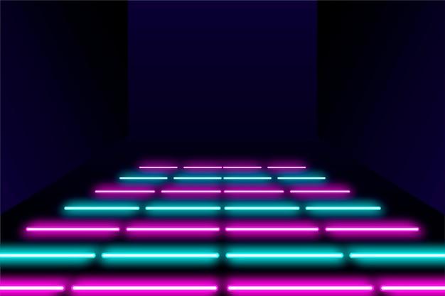 Fundo futurista abstrato com luzes de néon