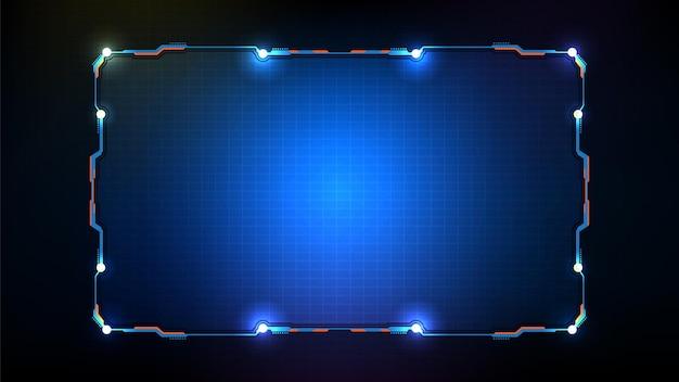Fundo futurista abstrato com moldura azul brilhante