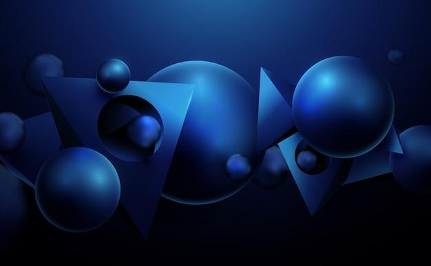 Fundo futurista abstrato das composições geométricas do efeito 3d