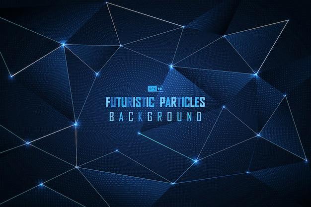 Fundo futurista abstrato das partículas do ponto azul.