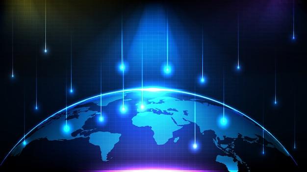 Fundo futurista abstrato de fluxo de tecnologia de conexão de linha brilhante azul e mapas mundiais