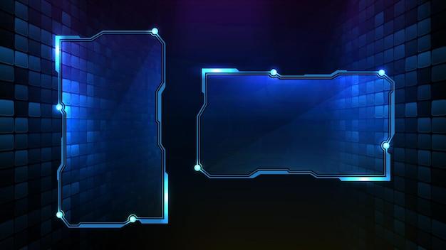 Fundo futurista abstrato de moldura azul brilhante de tecnologia sci fi