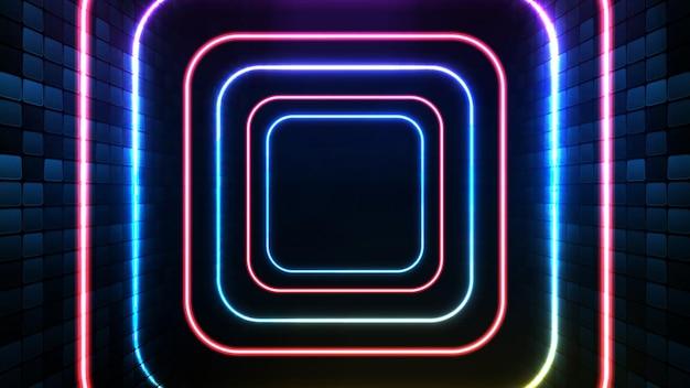 Fundo futurista abstrato de moldura quadrada de néon azul e plano de fundo do palco de iluminação