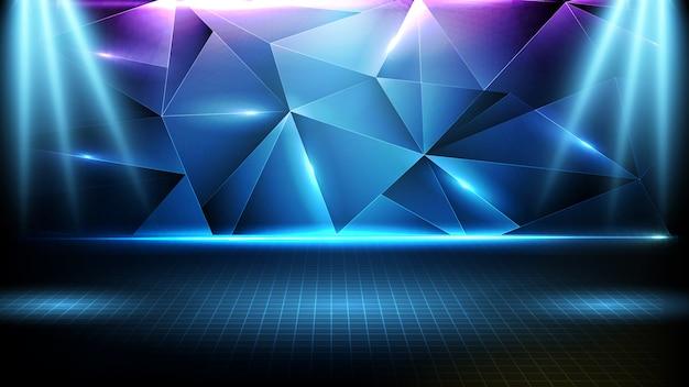 Fundo futurista abstrato de palco vazio azul, padrão de triângulo cenário de holofotes de iluminação geométrica e neon