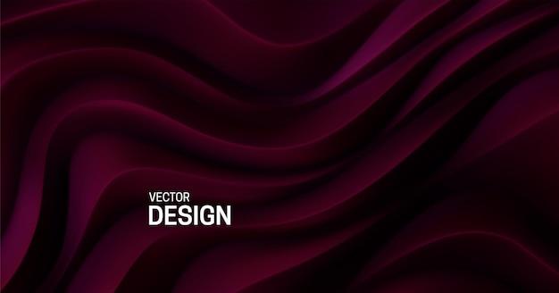 Fundo futurista abstrato de superfície de padrão curvilíneo vermelho escuro