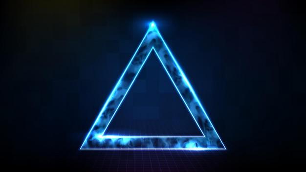 Fundo futurista abstrato de tecnologia neon moldura com fumaça