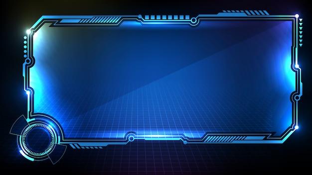 Fundo futurista abstrato de tecnologia sci fi frame hud ui azul brilhante
