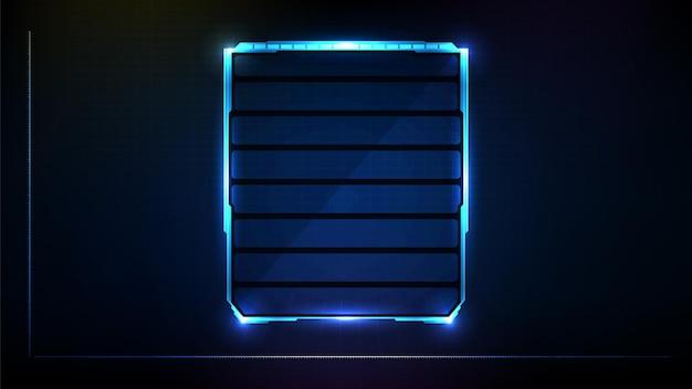 Fundo futurista abstrato de tecnologia sci fi frame hud ui brilhante azul