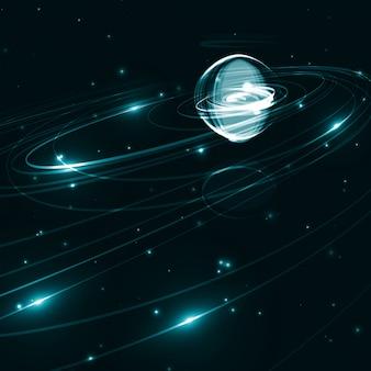 Fundo futurista abstrato do espaço, ilustração escura da arte