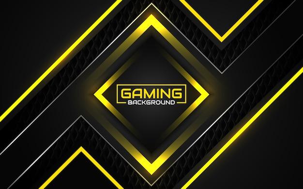 Fundo futurista abstrato do jogo em preto e amarelo