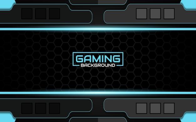 Fundo futurista abstrato do jogo em preto e azul