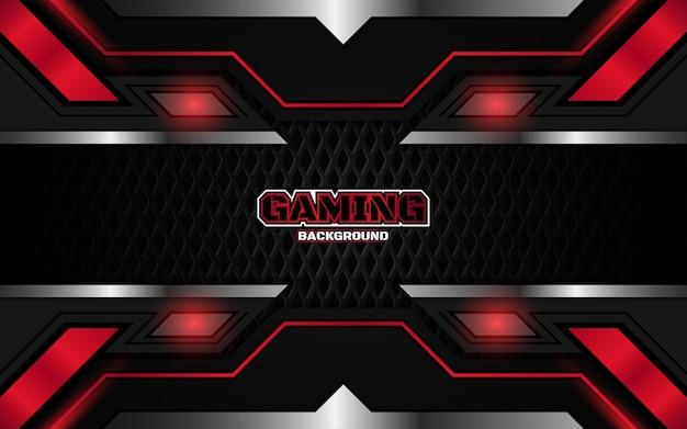 Fundo futurista abstrato do jogo em preto e vermelho claro