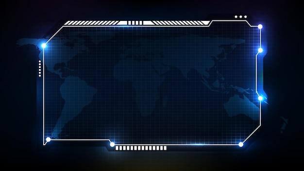 Fundo futurista abstrato do quadro azul de tecnologia sci fi, tópico hud ui, barra de botões inferior do terceiro