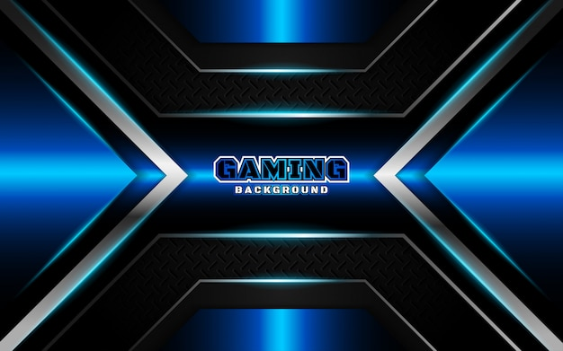 Fundo futurista abstrato preto e azul de jogos