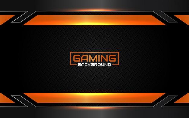 Fundo futurista abstrato preto e laranja de jogos