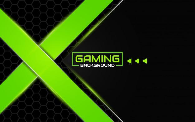 Fundo futurista abstrato preto e verde de jogos