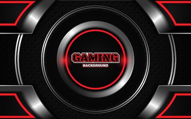 Fundo futurista abstrato preto e vermelho de jogos