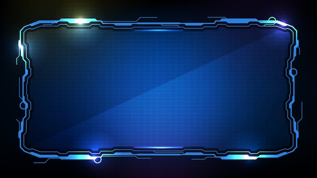 Fundo futurista abstrato. quadro de sci fi de tecnologia azul brilhante hud ui