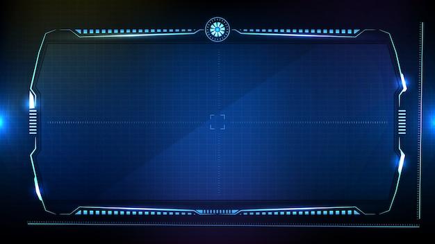 Fundo futurista abstrato. tecnologia azul brilhante sci fi frame hud ui