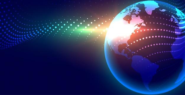 Fundo futurista da globalização da terra digital