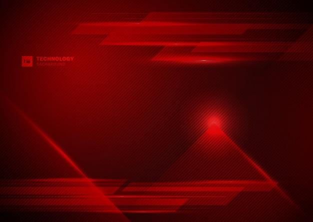 Fundo futurista da luz vermelha da tecnologia abstrata.