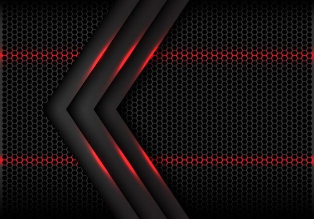 Fundo futurista da malha cinzenta do hexágono da luz vermelha da seta.