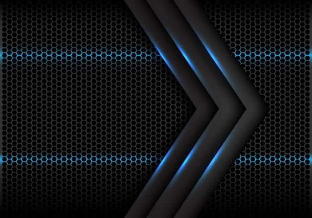 Fundo futurista da malha do hexágono claro azul da seta cinzenta.
