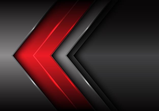 Fundo futurista da seta cinzenta escura vermelha abstrata.