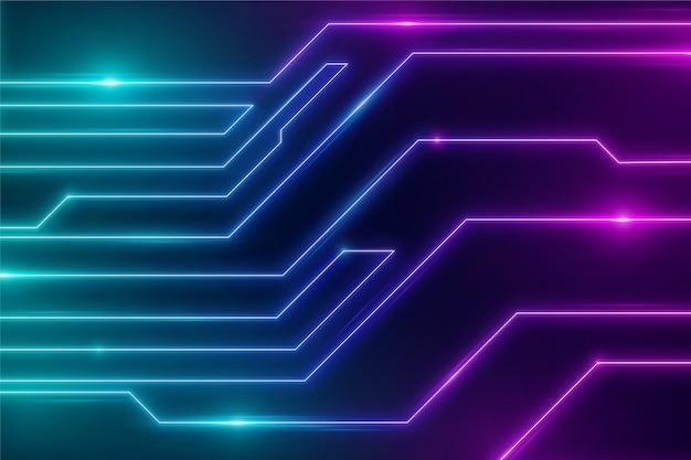 Fundo futurista de circuitos de luzes de néon