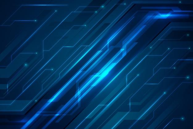 Fundo futurista de circuitos de tons de azul