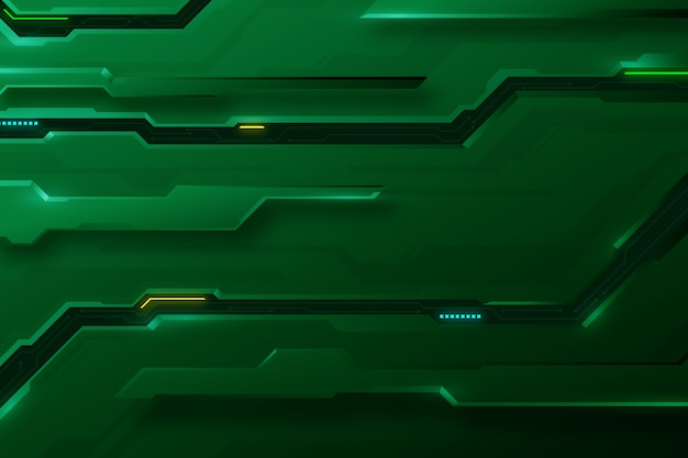 Fundo futurista de circuitos de tons de verde