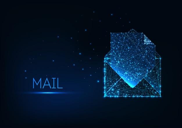 Fundo futurista de documentação de correio eletrônico