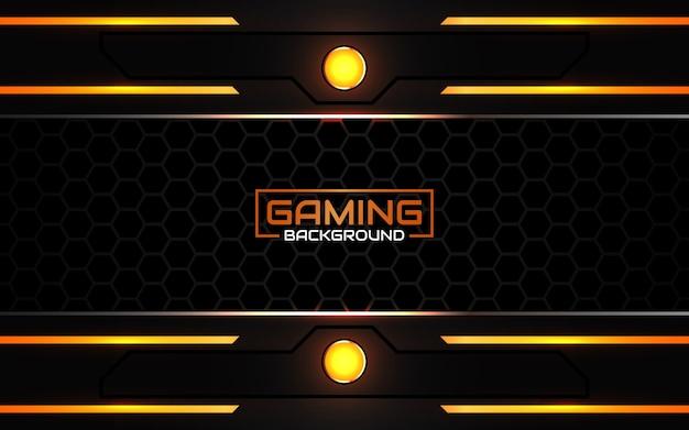 Fundo futurista de jogo abstrato em preto e laranja